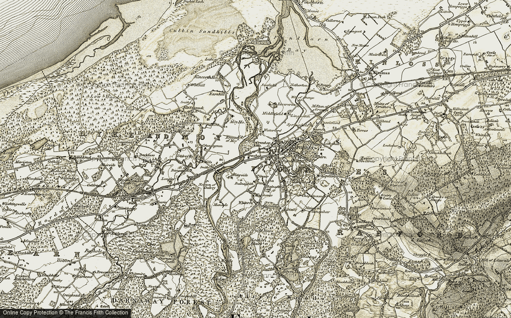 Old Map of Historic Map covering Balnageith in 1910-1911