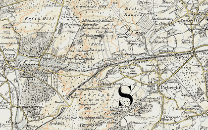 Old map of Pirbright Camp in 1897-1909
