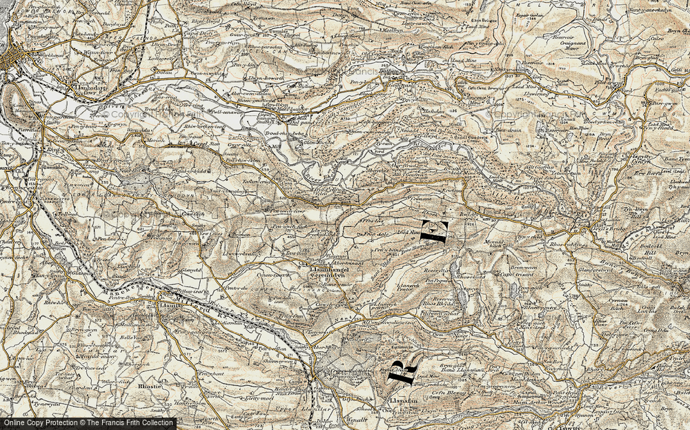 Old Map of Historic Map covering Allt-fedw in 1901-1903