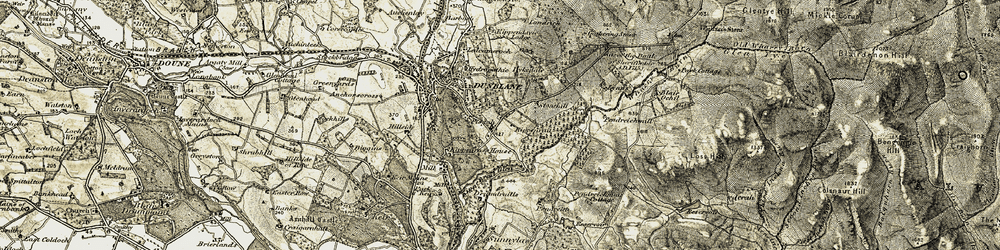 Old map of Wharry Burn in 1904-1907
