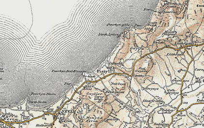 Old map of Pistyll in 1903