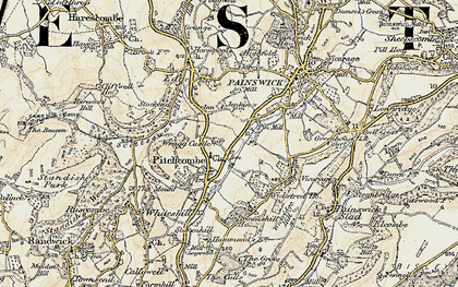 Old map of Pitchcombe in 1898-1900