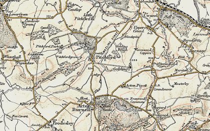 Old map of Pitchford in 1902