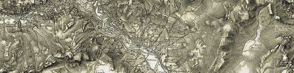 Old map of Pitlochry in 1907-1908