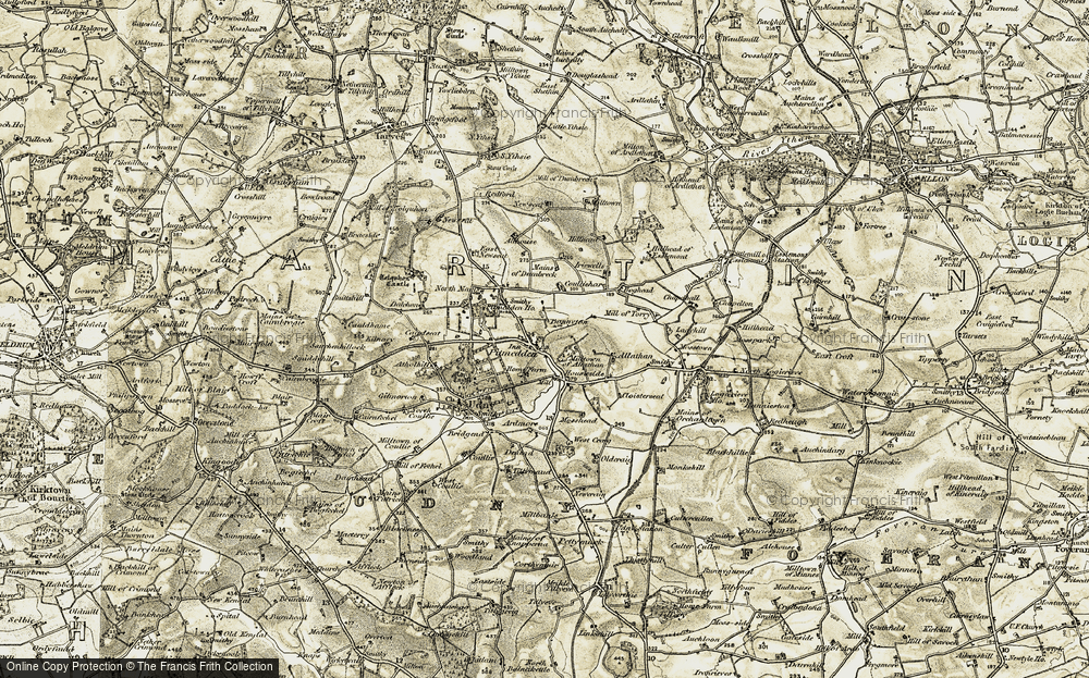 Old Map of Historic Map covering Tolquhon Castle in 1909-1910