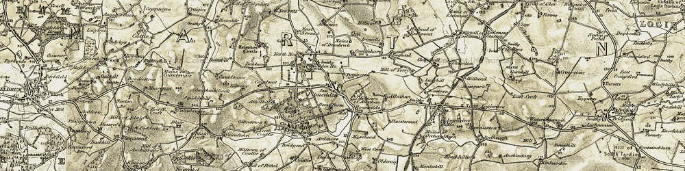 Old map of Tolquhon Castle in 1909-1910
