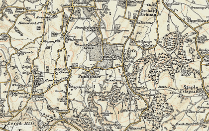 Old map of Pitminster in 1898-1900
