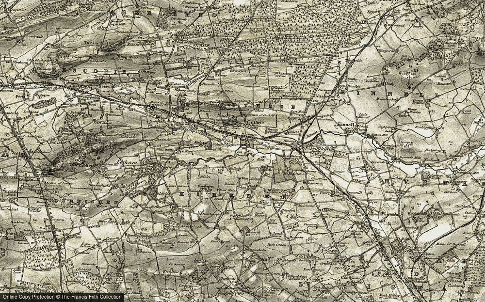 Old Map of Historic Map covering Balmadies House in 1907-1908