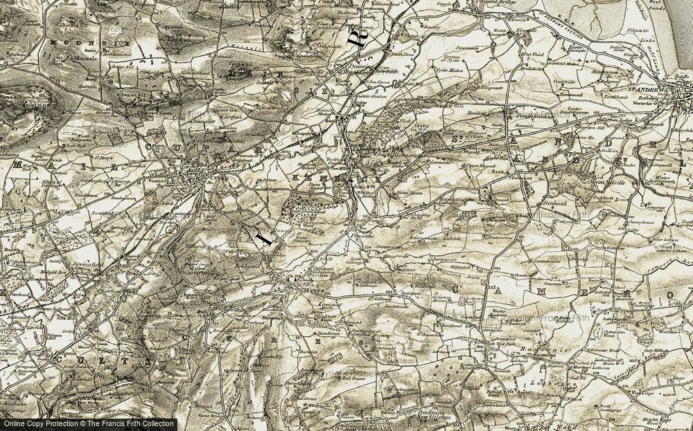 Old Map of Historic Map covering Backfield of Ladeddie in 1906-1908
