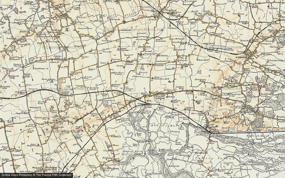 Old Map of Pitsea, 1898 in 1898