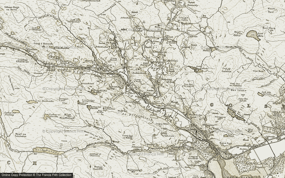 Old Map of Historic Map covering Bad an Fhèidh in 1910-1912