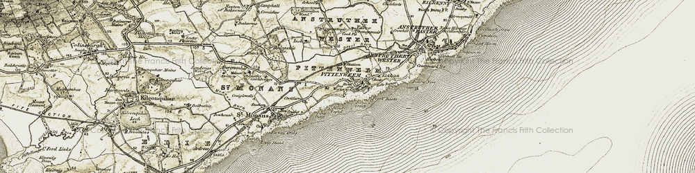 Old map of Pittenweem in 1903-1908