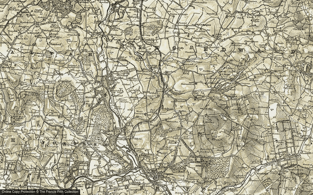 Old Map of Historic Map covering Auchmill in 1909-1910
