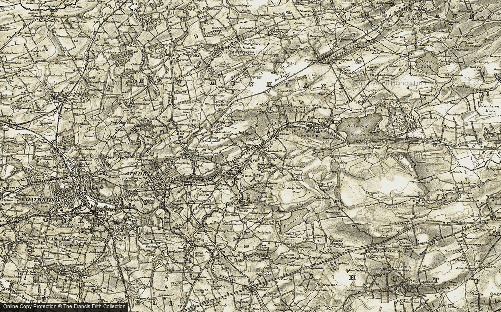 Old Map of Historic Map covering Airdriehill in 1904-1905