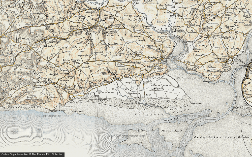 Old Map of Historic Map covering Laugharne Burrows in 1901