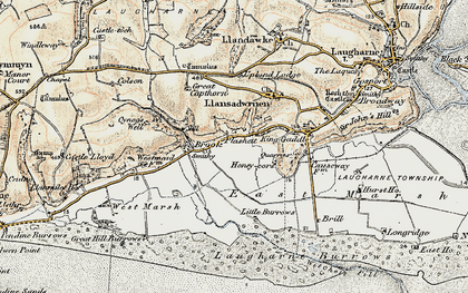 Old map of Laugharne Burrows in 1901