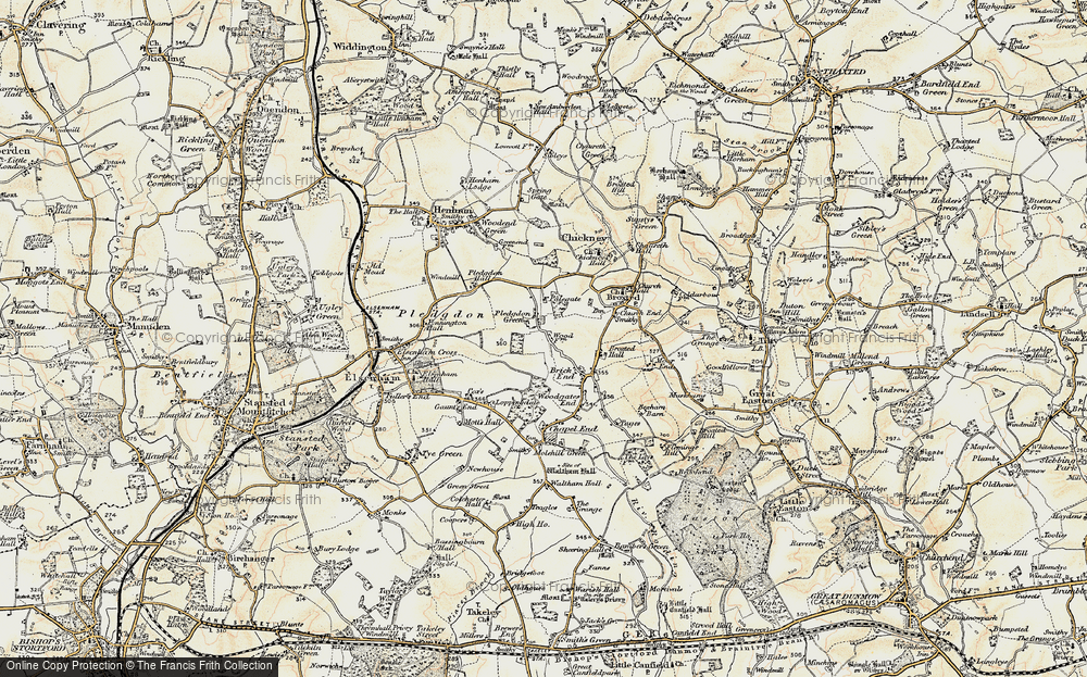 Old Map of Historic Map covering Wood Farmhouse in 1898-1899