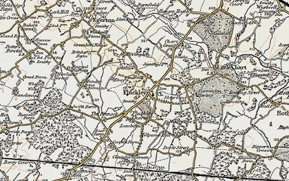 Old map of Pluckley in 1897-1898