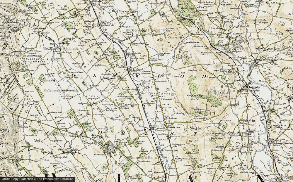 Old Map of Historic Map covering Aikbank Common in 1901-1904