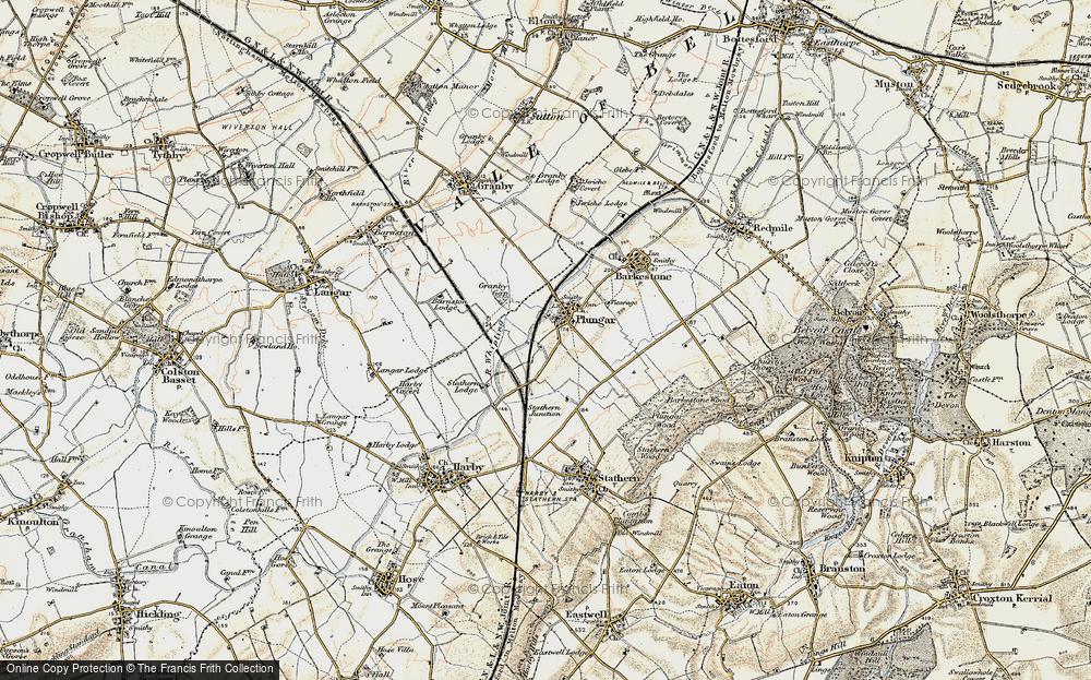 Old Map of Historic Map covering Langar Airfield in 1902-1903