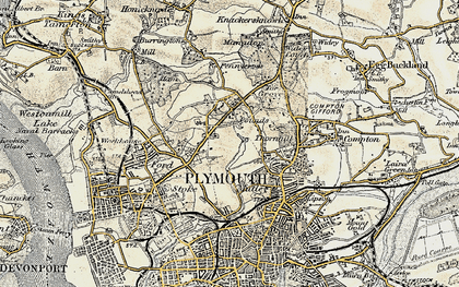 Old map of Plymouth in 1899-1900