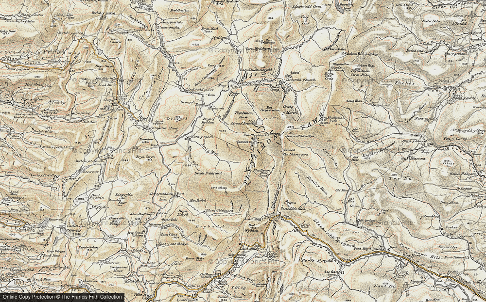 Old Map of Historic Map covering Banc Llechwedd-mawr in 1902-1903