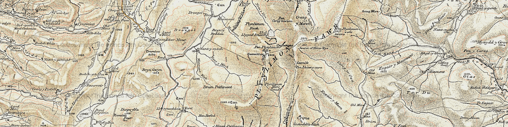 Old map of Plynlimon in 1902-1903