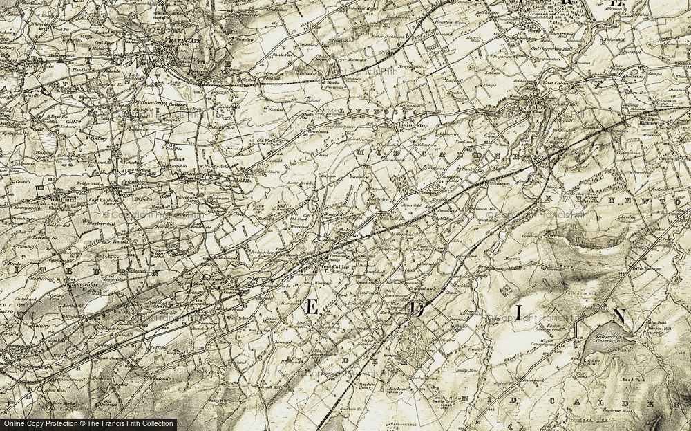 Old Map of Historic Map covering Limefield Ho in 1904-1905