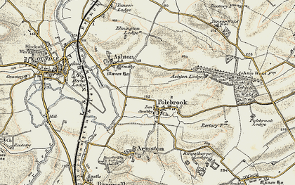 Old map of Ashton Wold Ho in 1901-1902