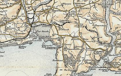 Old map of Polkerris in 1900