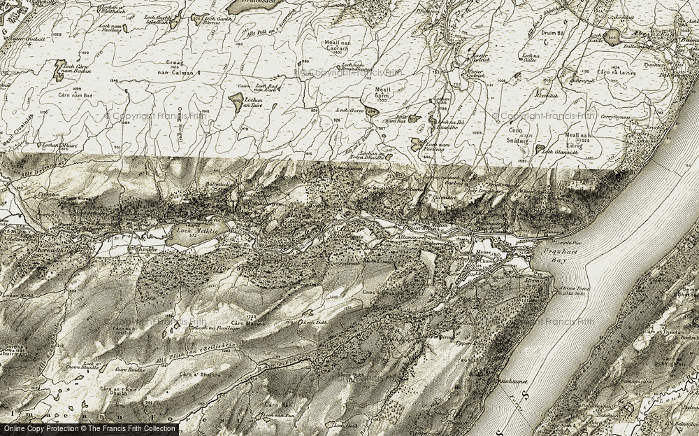 Old Map of Historic Map covering Allt an Loch Ghuirm in 1908-1912