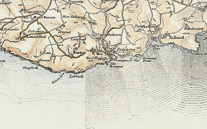 Old map of Polperro in 1900