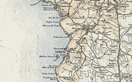 Old map of Polurrian Cove in 1900
