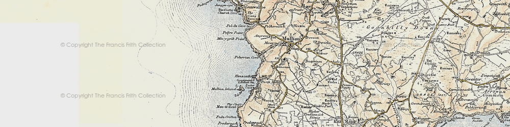 Old map of Poldhu Point in 1900