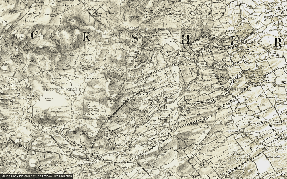 Old Map of Historic Map covering Backlea Plantn in 1901-1904