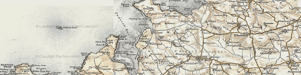 Old map of Polzeath in 1900