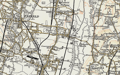 Old map of Ponders End in 1897-1898