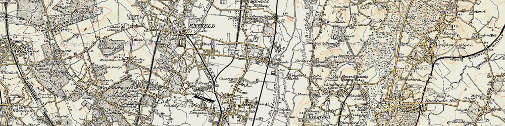 Old map of William Girling Reservoir in 1897-1898
