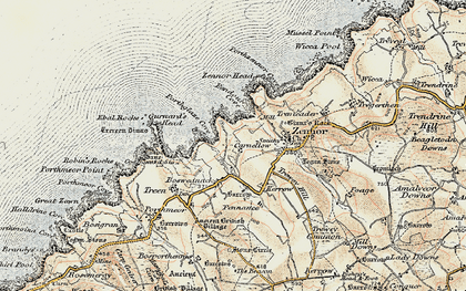 Old map of Zennor Head in 1900