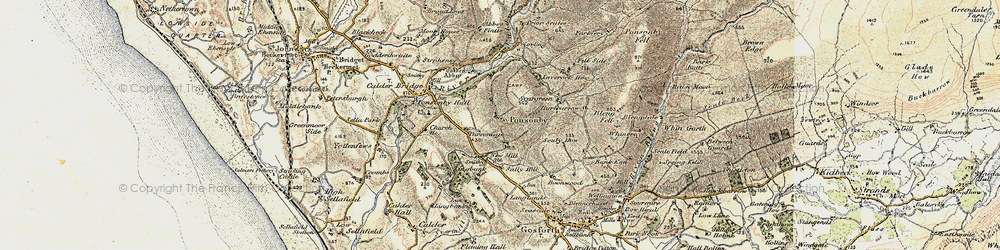 Old map of Wheel Fell in 1903-1904