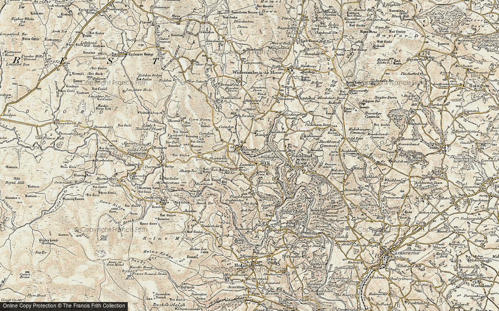 Old Map of Historic Map covering Leusdon in 1899