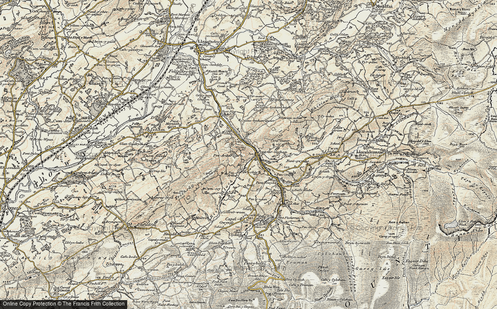 Old Map of Historic Map covering Afon Swadde in 1900-1901