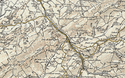 Old map of Afon Swadde in 1900-1901