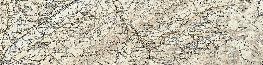 Old map of Afon Swadde in 1900-1901