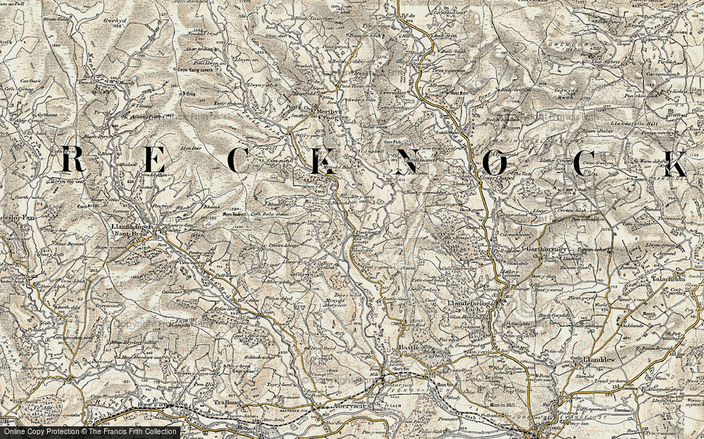 Old Map of Historic Map covering Alltycerrig in 1900-1902