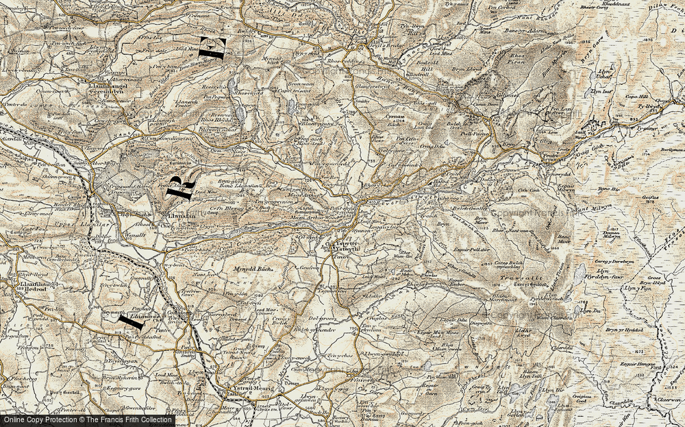 Old Map of Historic Map covering Afon Ystwyth in 1901-1903