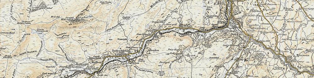 Old map of Afon Wybrnant in 1902-1903