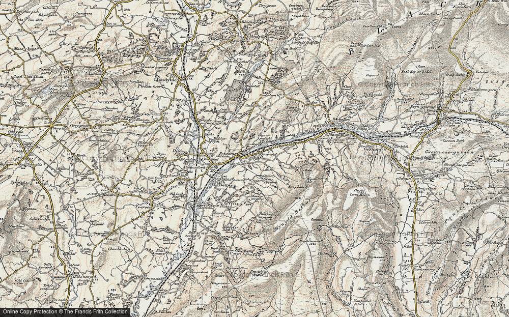 Old Map of Historic Map covering Afon Aman in 1900-1901