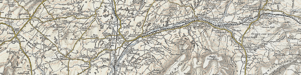 Old map of Afon Aman in 1900-1901