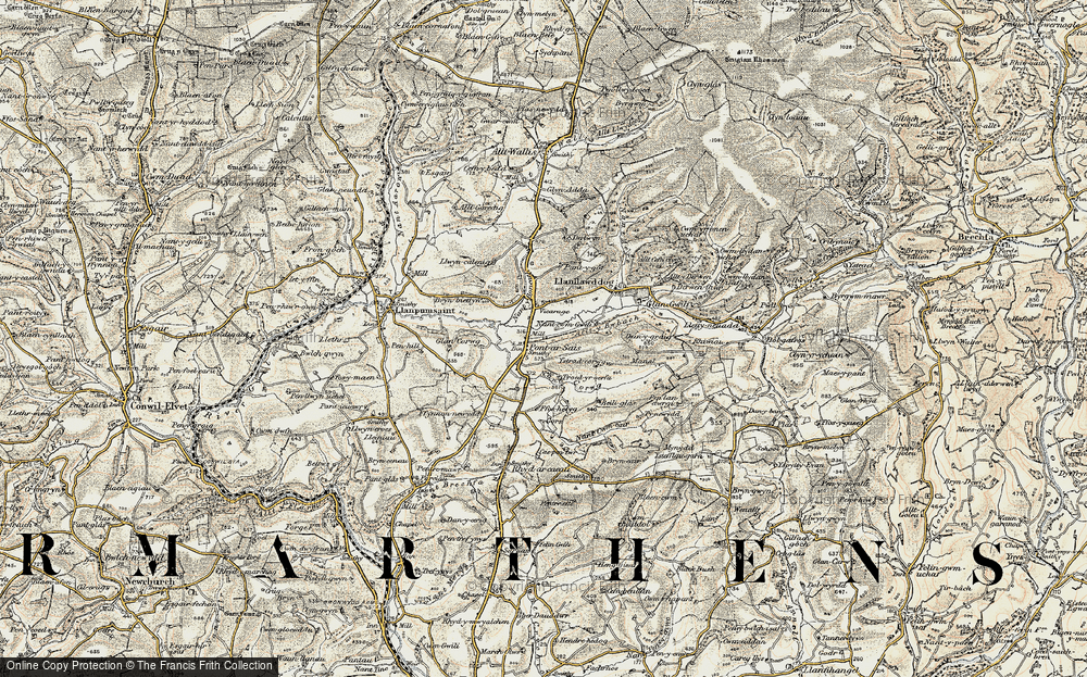 Old Map of Historic Map covering Allt y Bwbach in 1901
